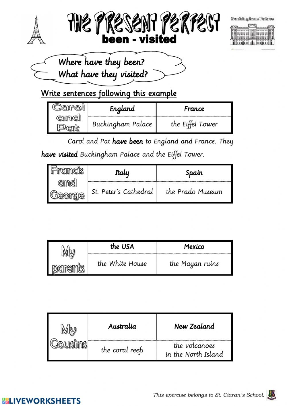 hight resolution of Present Perfect - Been-Visited interactive worksheet