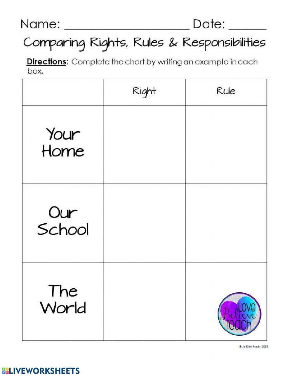 hight resolution of Rights and responsibilities worksheet
