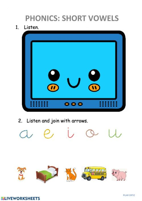 small resolution of Phonics: short vowels worksheet