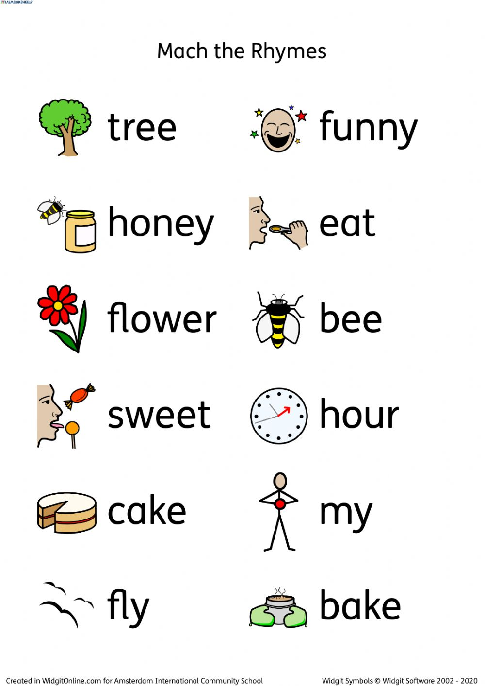 hight resolution of Bee Rhymes worksheet