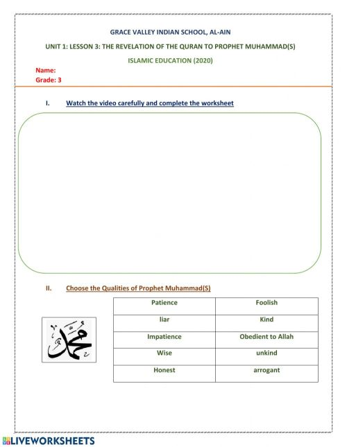 small resolution of Revelation of the Quran worksheet