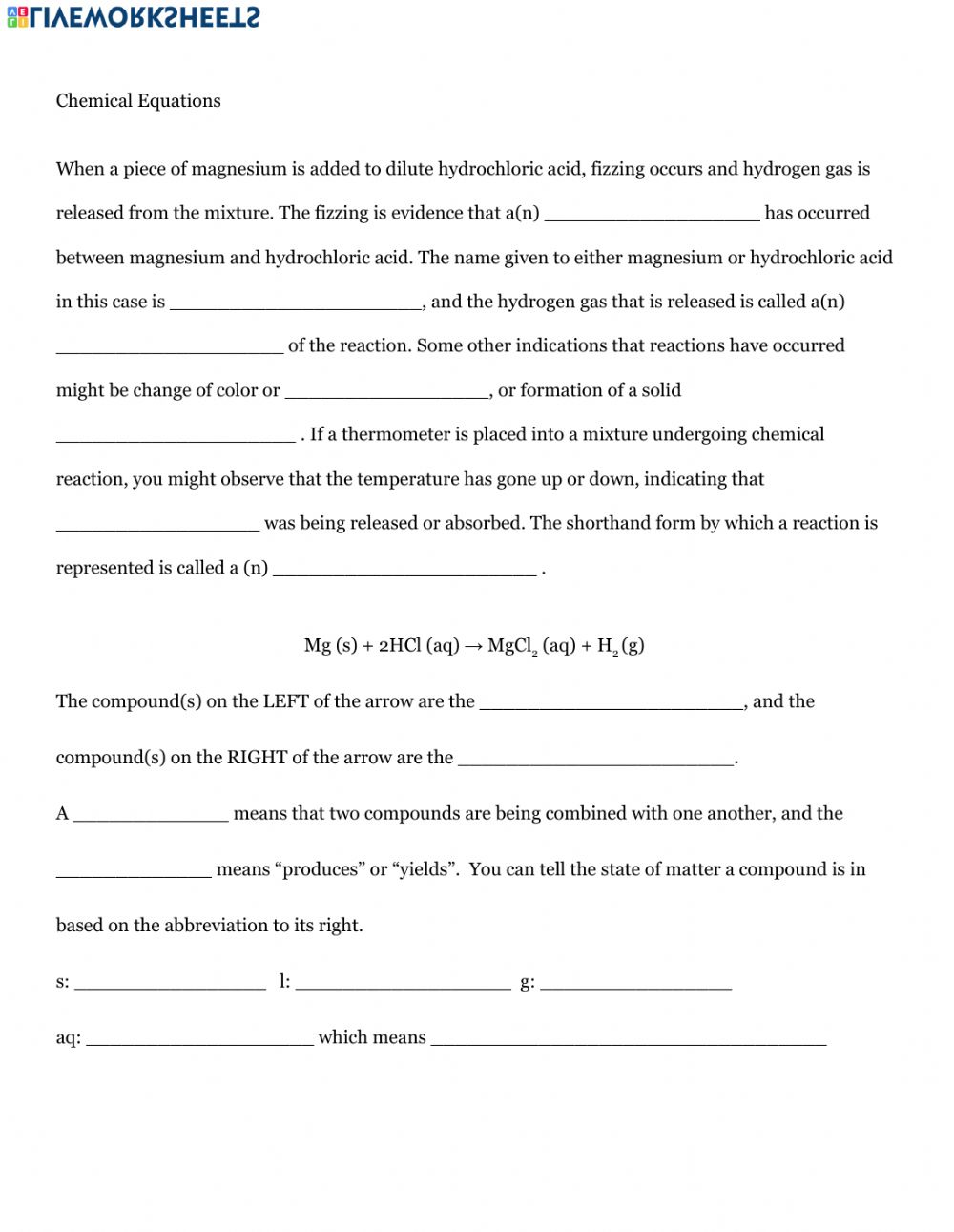 hight resolution of Intro to Chemical Equations worksheet