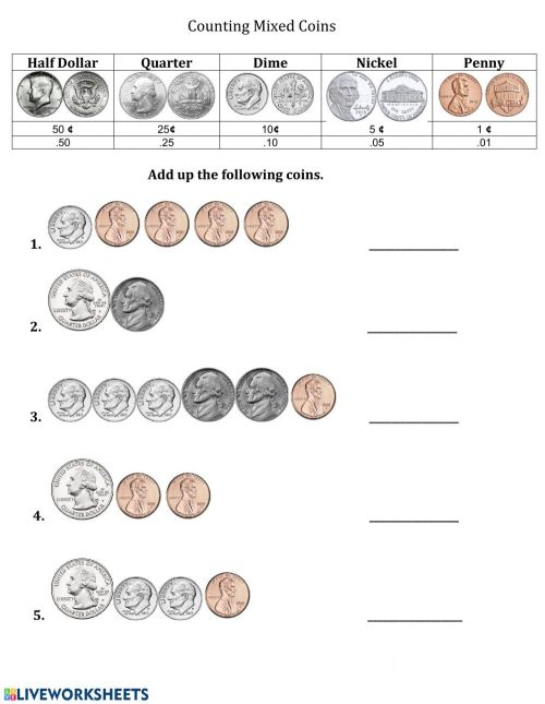 small resolution of Counting Mixed Coins -1 worksheet