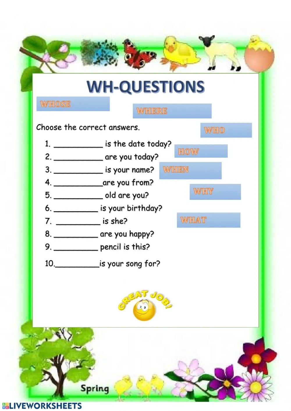 hight resolution of WH questions with to be interactive worksheet