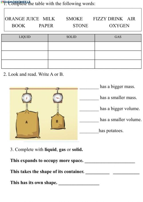 small resolution of Volume and Mass. States of matter worksheet
