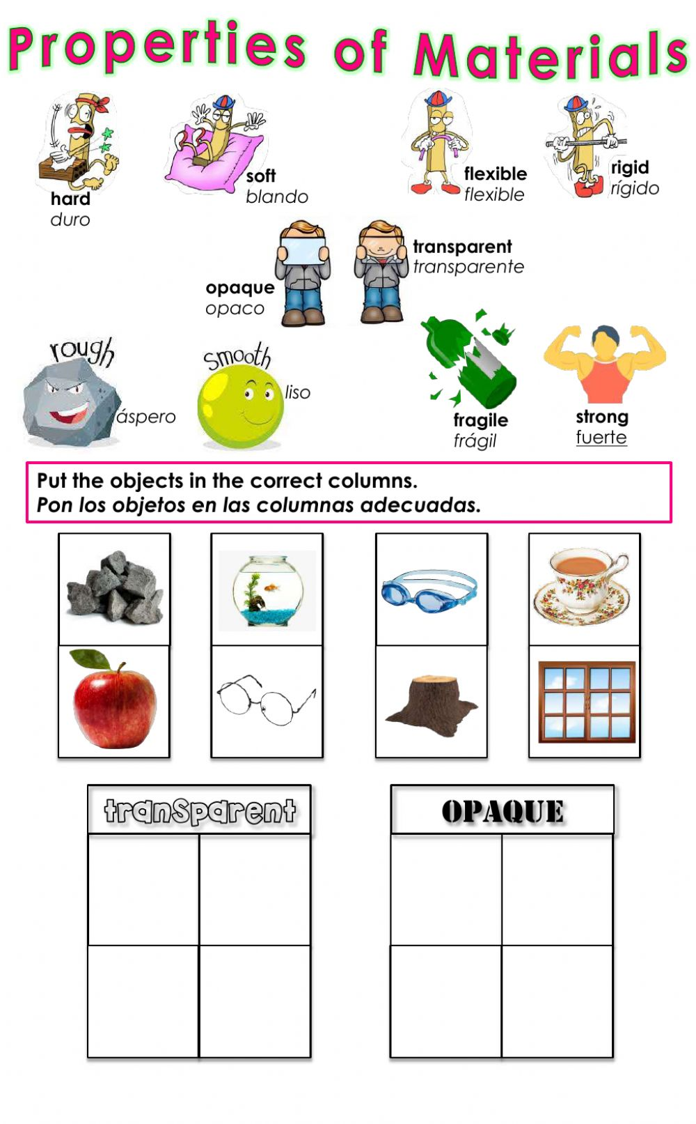 hight resolution of Properties of Materials - Transparent or Opaque? worksheet