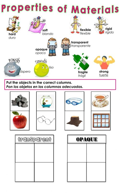 small resolution of Properties of Materials - Transparent or Opaque? worksheet