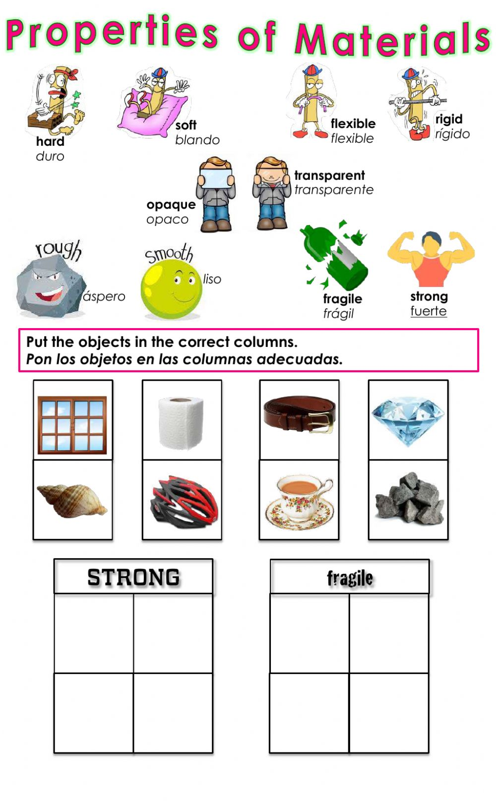 hight resolution of Properties of Materials - Strong or Fragile? worksheet