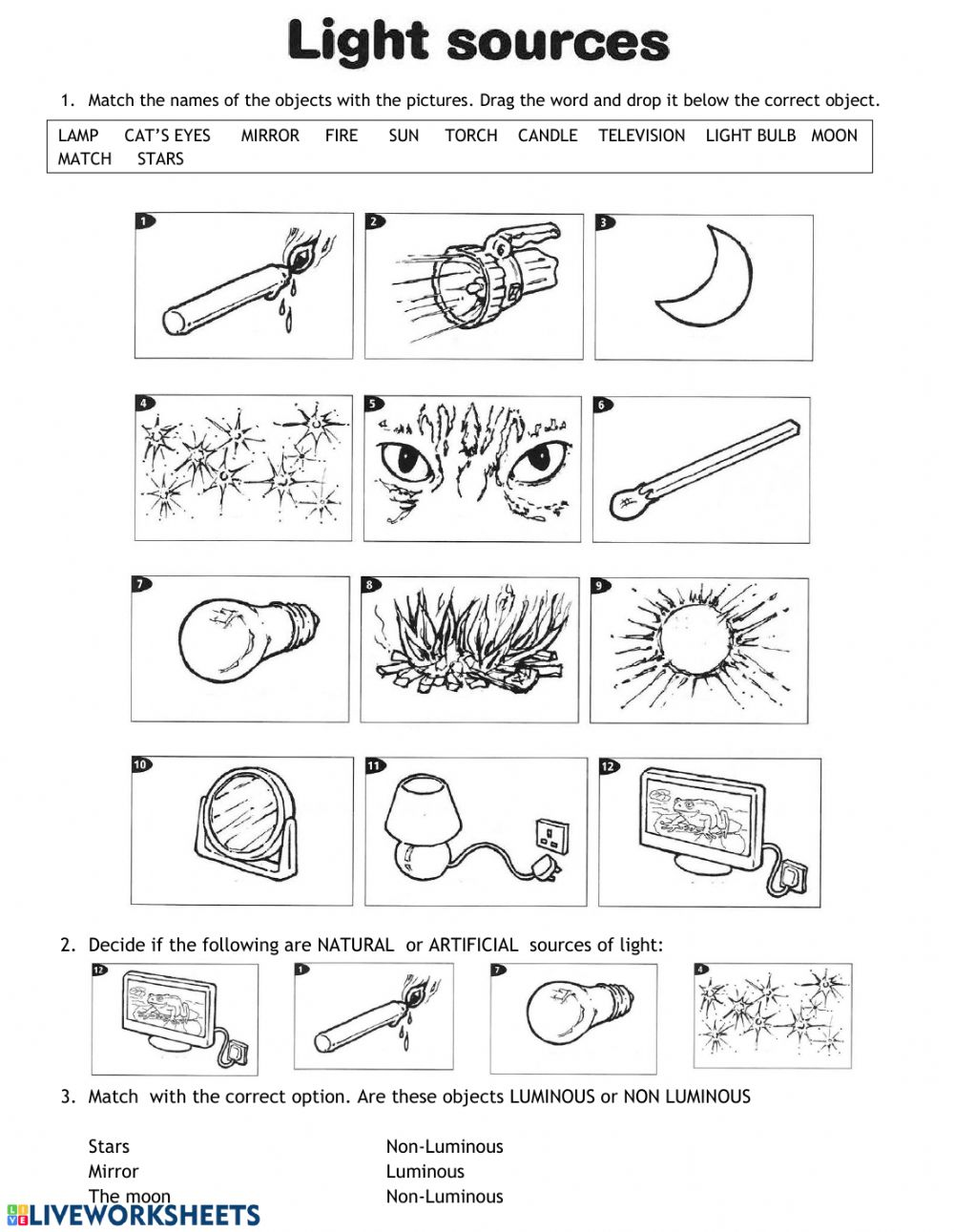 hight resolution of Sources of light interactive worksheet