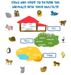 Animals habitat worksheet [ 1413 x 1000 Pixel ]