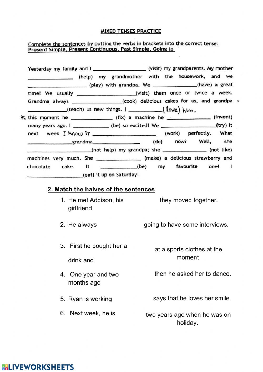 hight resolution of Mixed tenses interactive activity