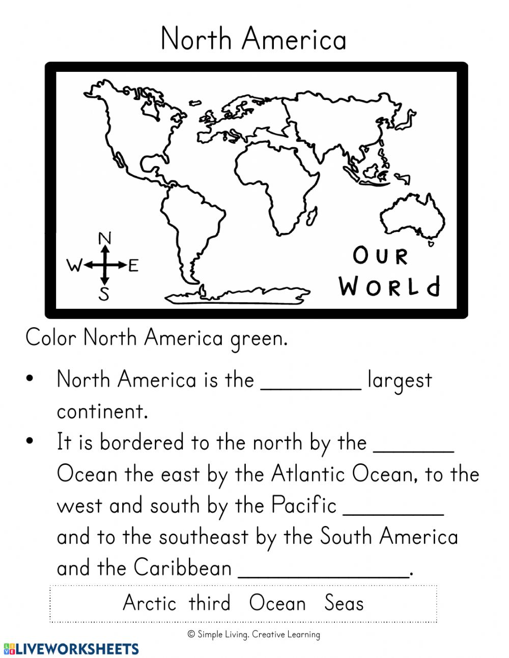 hight resolution of North and South America worksheet