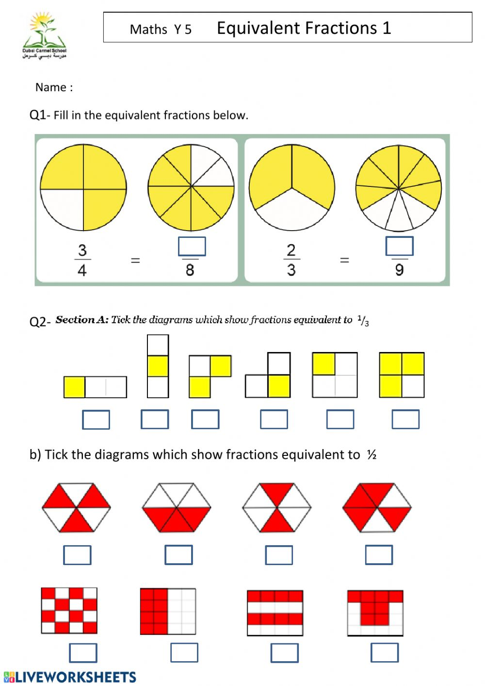 hight resolution of Equivalent Fractions interactive worksheet