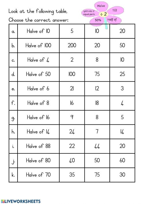 small resolution of Double and Halve worksheet