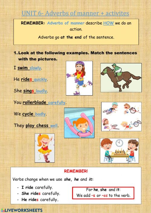 small resolution of Adverbs of manner + Activities worksheet