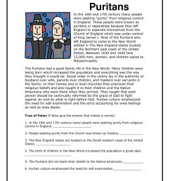 Puritans worksheet [ 1291 x 1000 Pixel ]