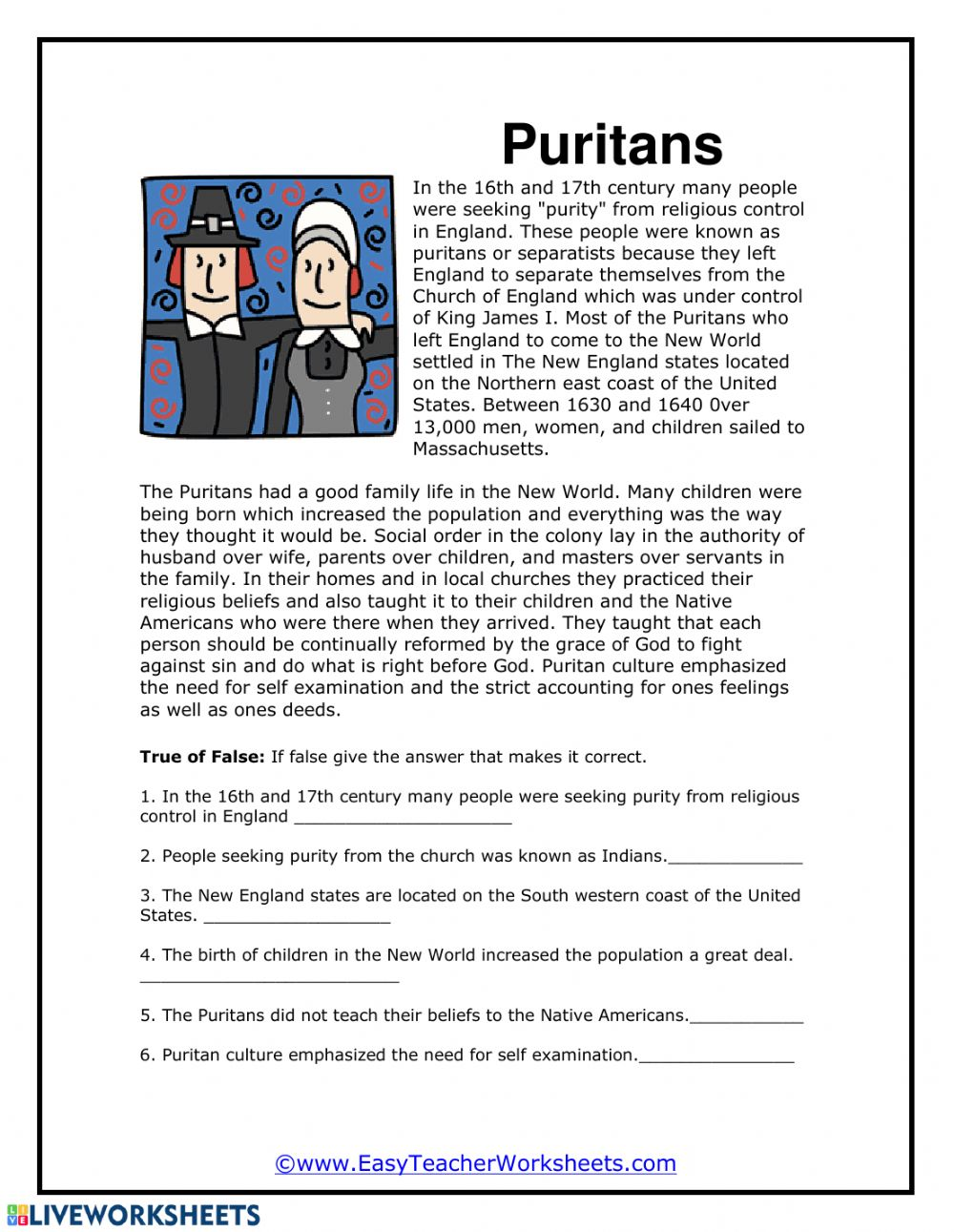 medium resolution of Puritans worksheet