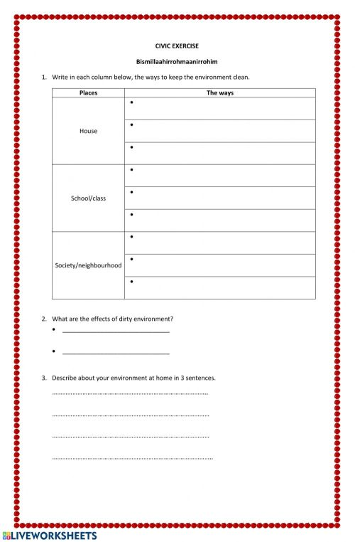 small resolution of Healthy life behaviour worksheet