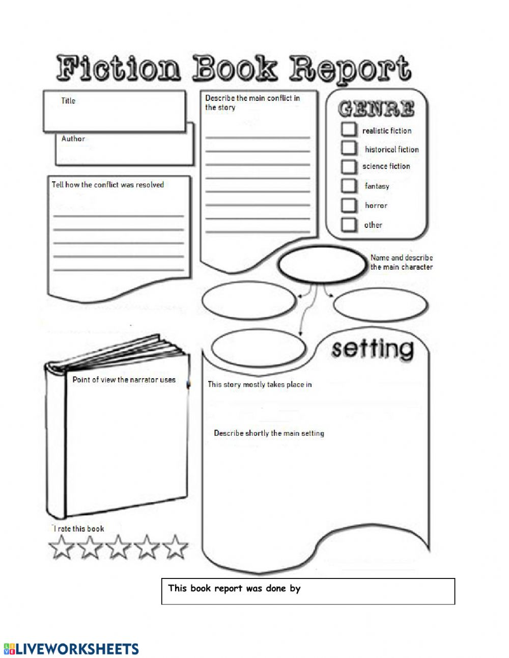 medium resolution of Fiction book report worksheet