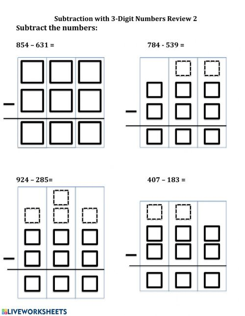small resolution of Subtraction - 3 digit 2 worksheet