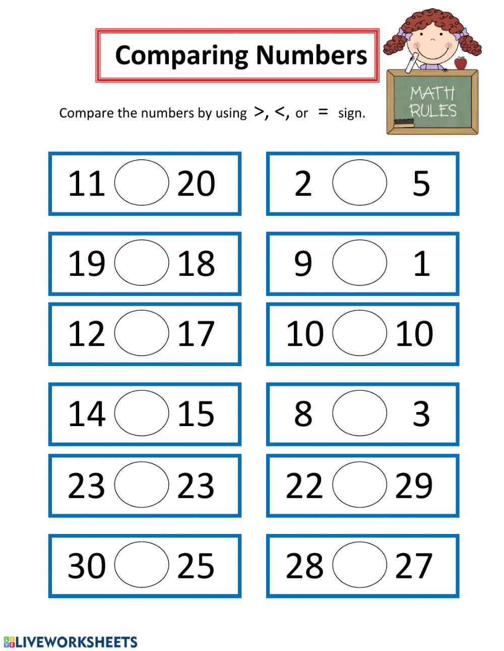 hight resolution of Comparing Numbers worksheet