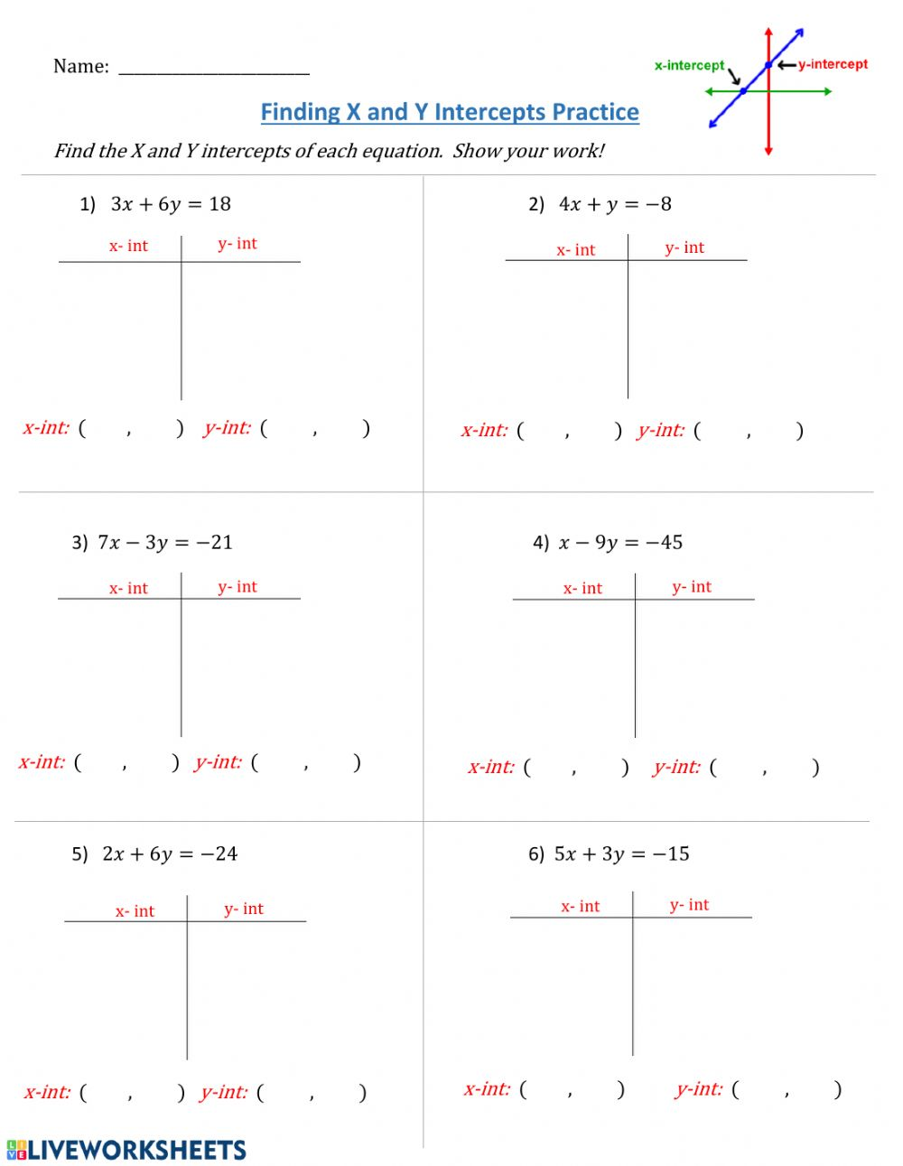 hight resolution of Finding X and Y Intercepts from Standard Form of Linear Equations worksheet