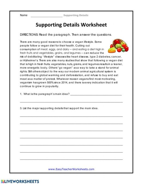 small resolution of Supporting Details Worksheet worksheet