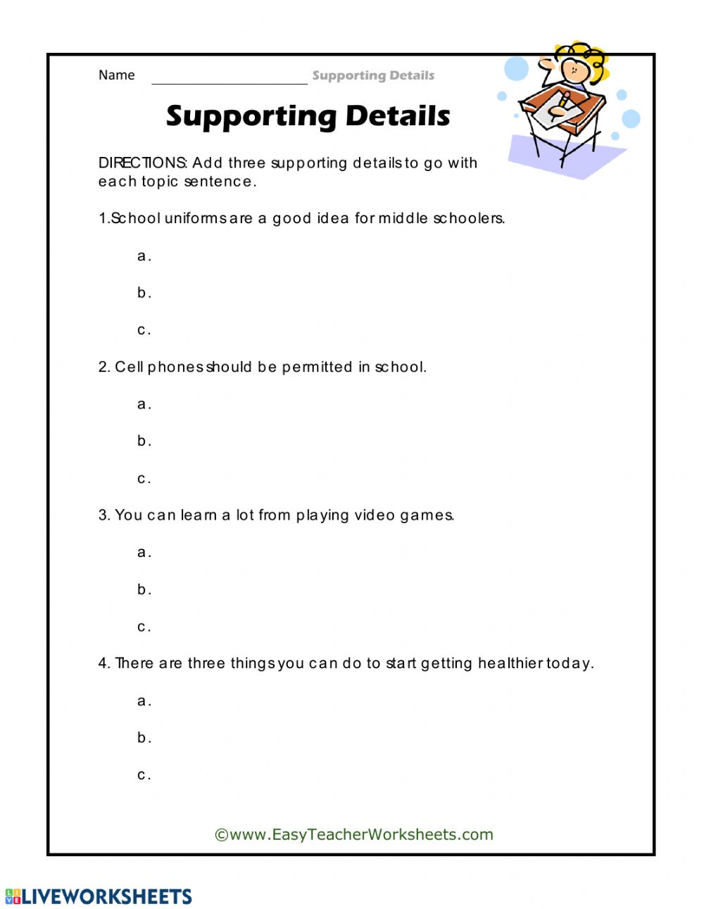 medium resolution of Supporting Details worksheet