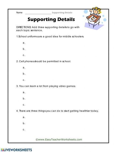 small resolution of Supporting Details worksheet