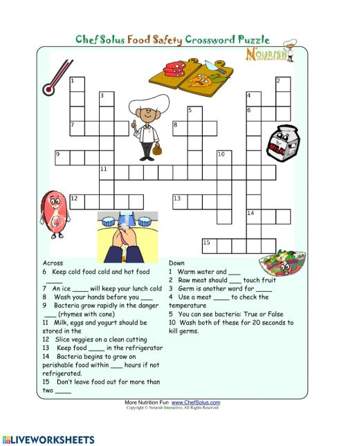 small resolution of Food Safety Crossword worksheet