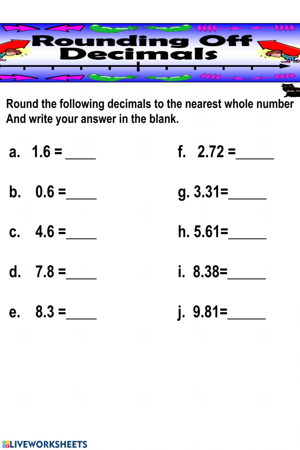 medium resolution of Rounding Decimals to the nearest whole number worksheet
