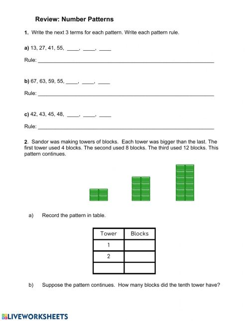 small resolution of Number Patterns Quiz worksheet