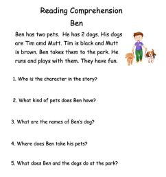 Reading Comprehension exercise for Grade 1 [ 1291 x 1000 Pixel ]