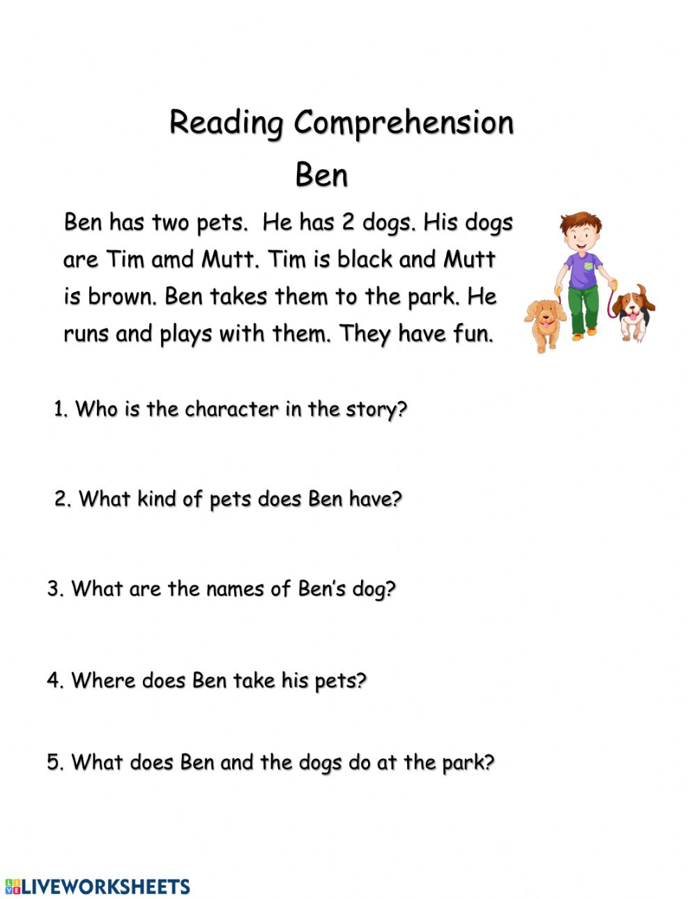 hight resolution of Reading Comprehension exercise for Grade 1