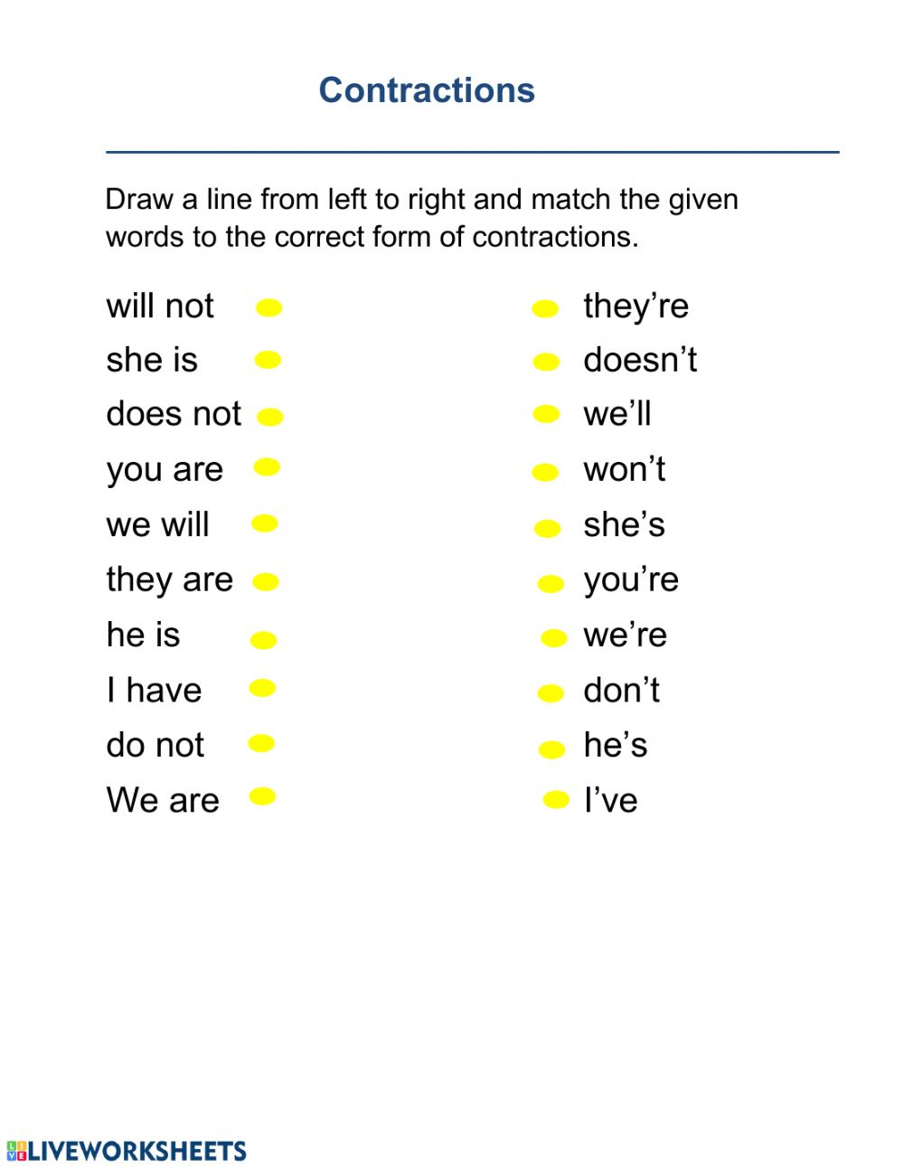 hight resolution of Contraction interactive worksheet