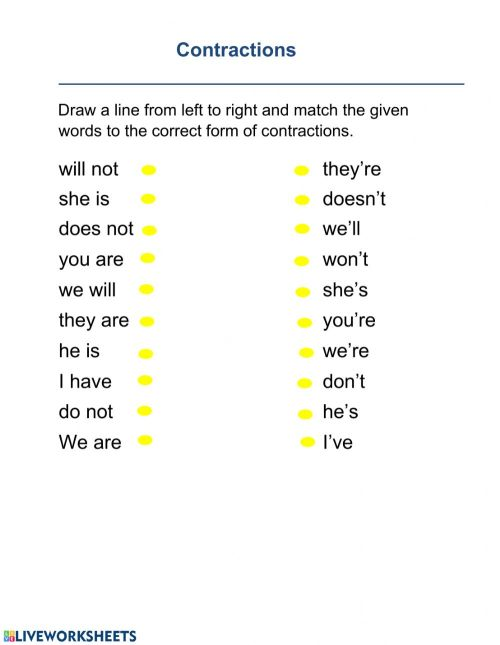 small resolution of Contraction interactive worksheet
