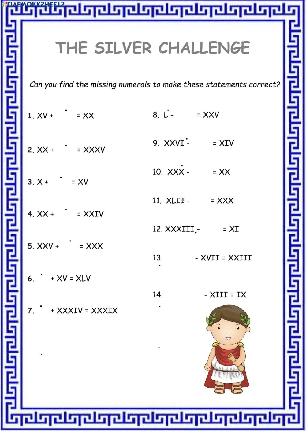 hight resolution of Roman Numerals worksheet