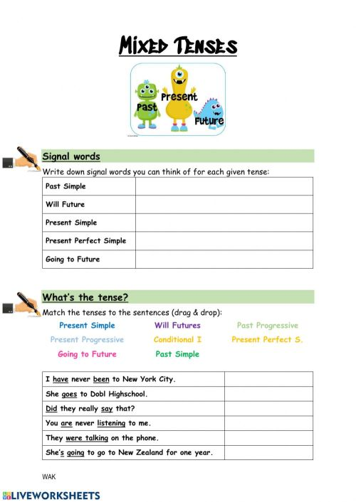 small resolution of Mixed Tenses worksheet for Grade 7
