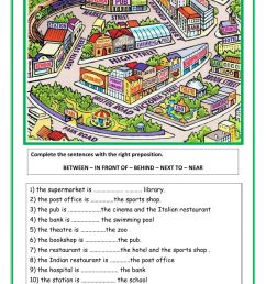 Prepositions and directions worksheet [ 1413 x 1000 Pixel ]