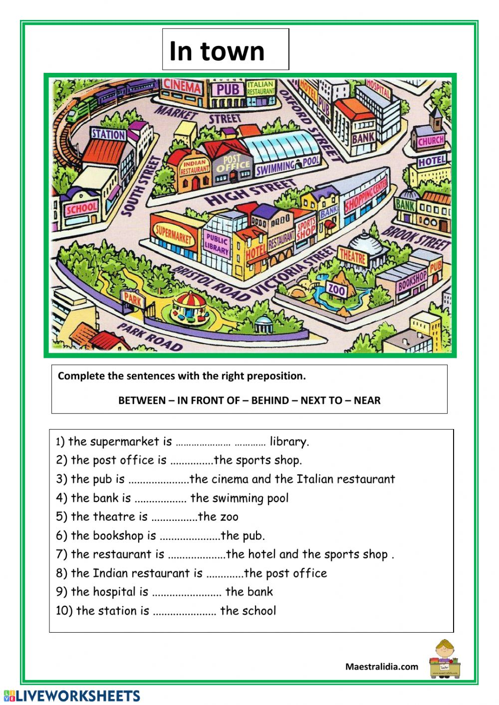 medium resolution of Prepositions and directions worksheet