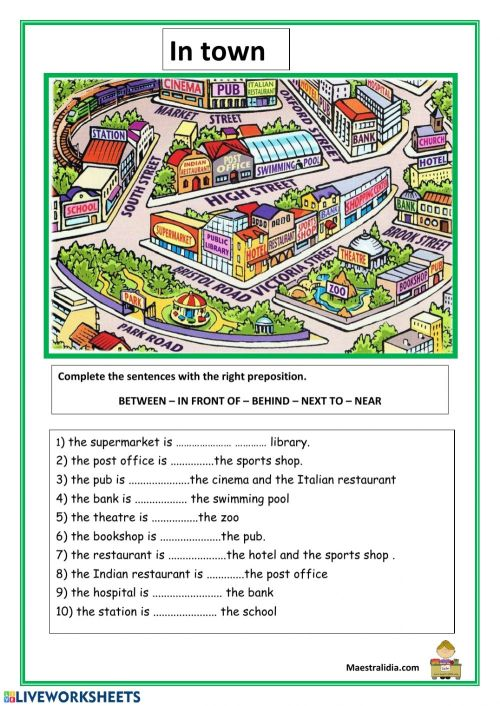 small resolution of Prepositions and directions worksheet