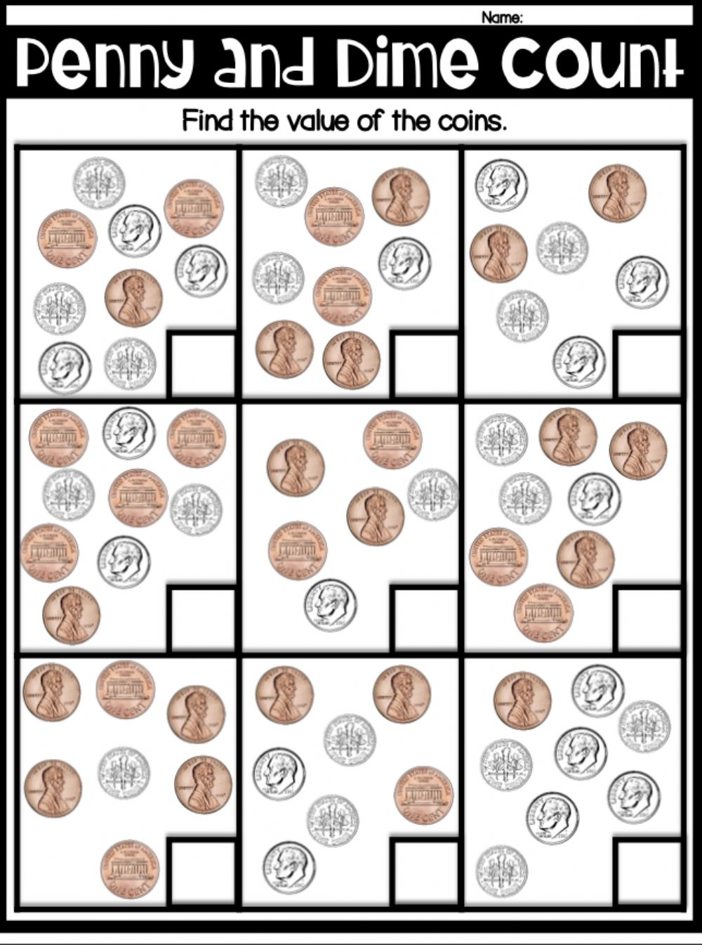 medium resolution of Counting dimes and pennies worksheet