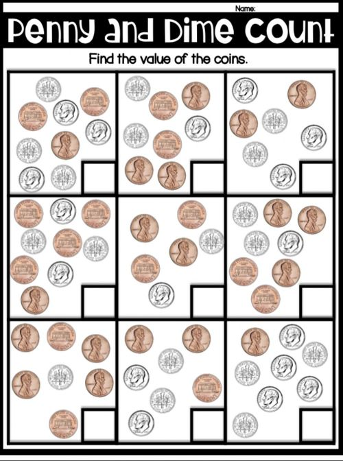 small resolution of Counting dimes and pennies worksheet