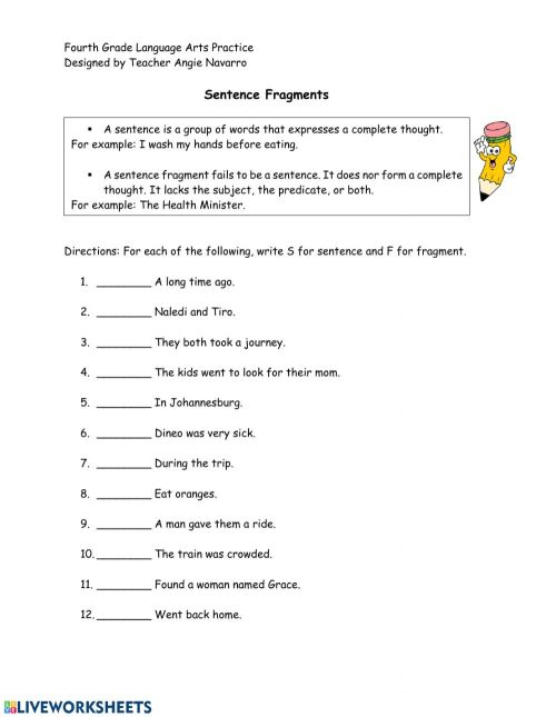 small resolution of Sentence-Fragments worksheet