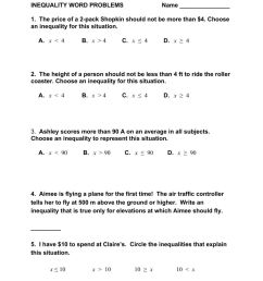 Inequality Word Problems worksheet [ 1291 x 1000 Pixel ]