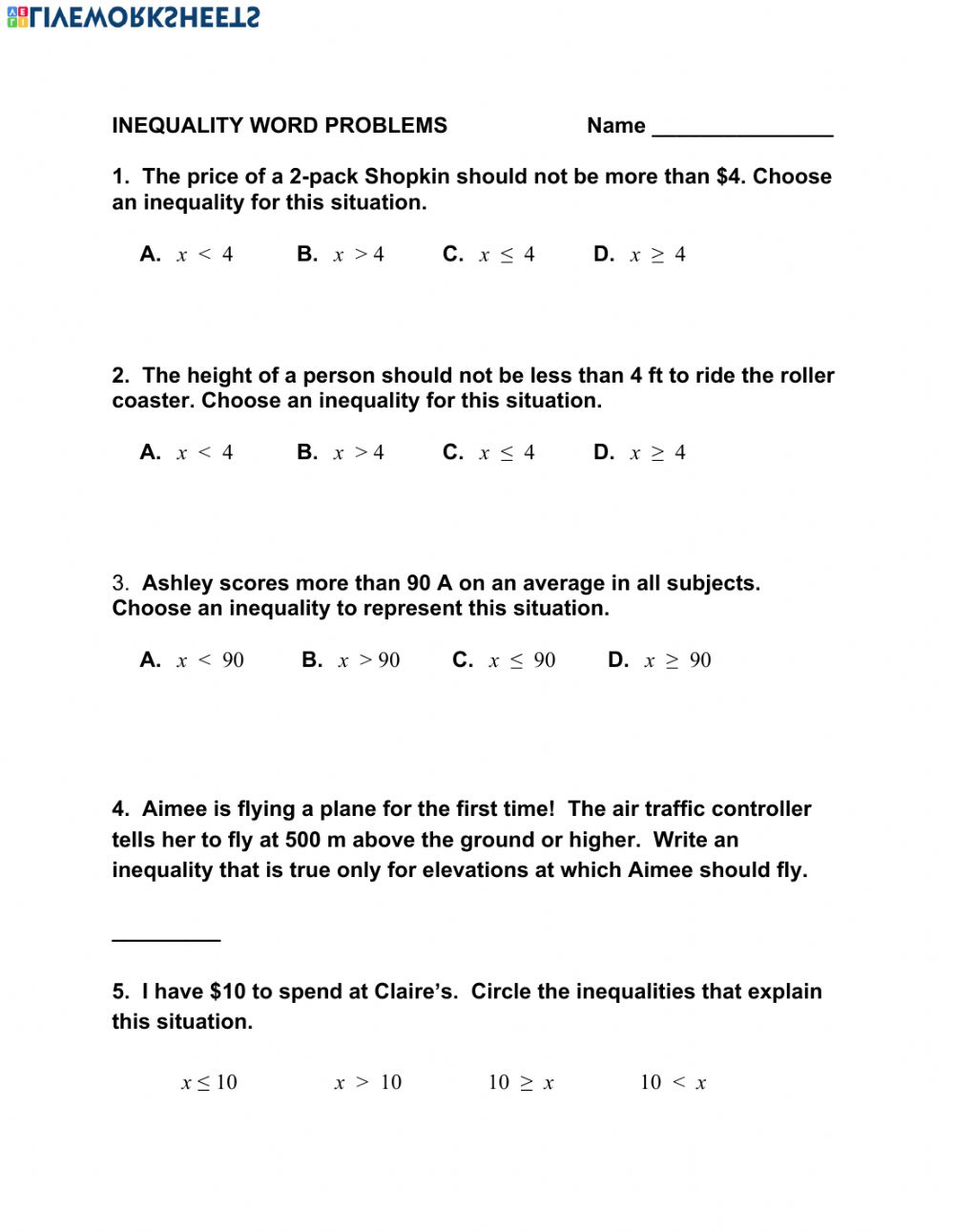 hight resolution of Inequality Word Problems worksheet