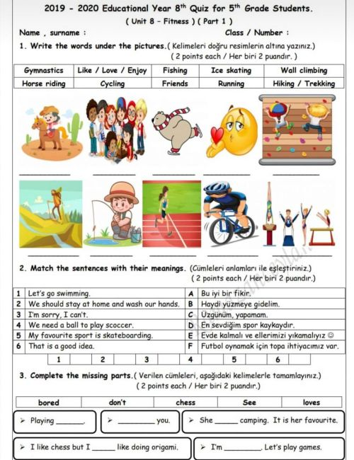 small resolution of Fitness quiz 1 page 1 worksheet
