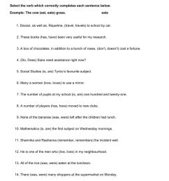 Subject and Verb Agreement 1 worksheet [ 1291 x 1000 Pixel ]