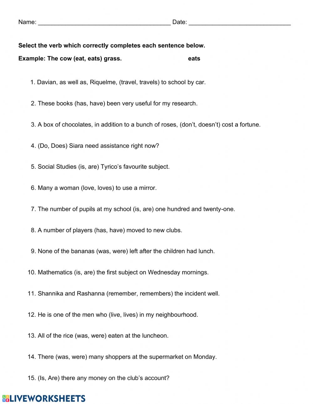 hight resolution of Subject and Verb Agreement 1 worksheet