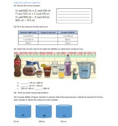 Add and subtract capacity worksheet [ 1291 x 1000 Pixel ]